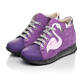 Детские демисезонные ботинки (подкладка кожа) Woopy Fashion фиолетовые для девочек натуральный нубук размер 28-35 (5022) Фото 3
