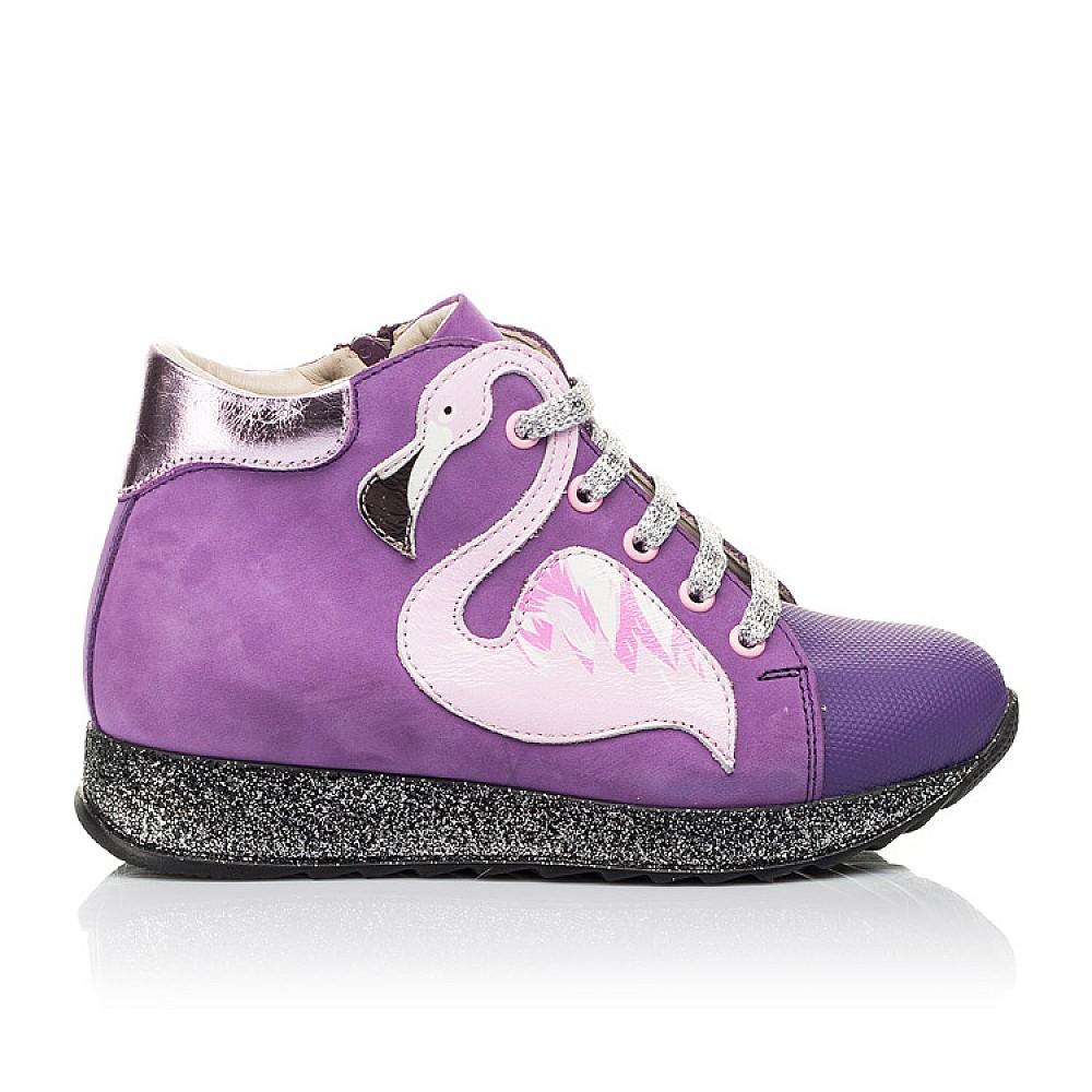 Детские демисезонные ботинки (подкладка кожа) Woopy Fashion фиолетовые для девочек натуральный нубук размер 28-35 (5022) Фото 4
