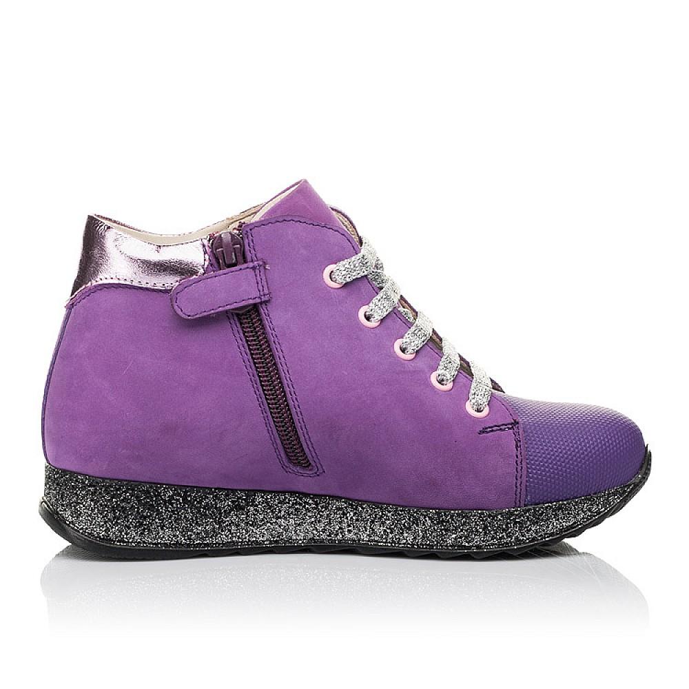 Детские демисезонные ботинки (подкладка кожа) Woopy Fashion фиолетовые для девочек натуральный нубук размер 28-35 (5022) Фото 5