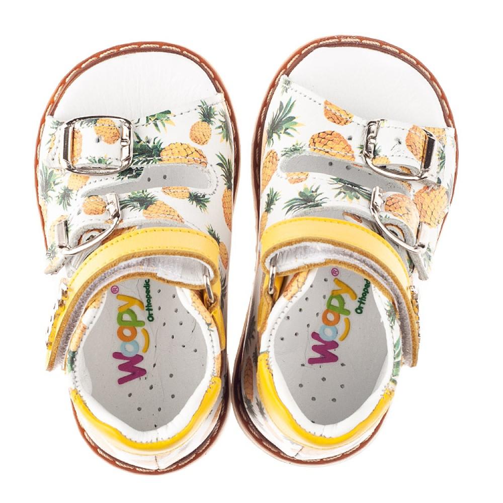 Детские босоножки Woopy Orthopedic желтые для девочек натуральная кожа размер 18-33 (5040) Фото 5