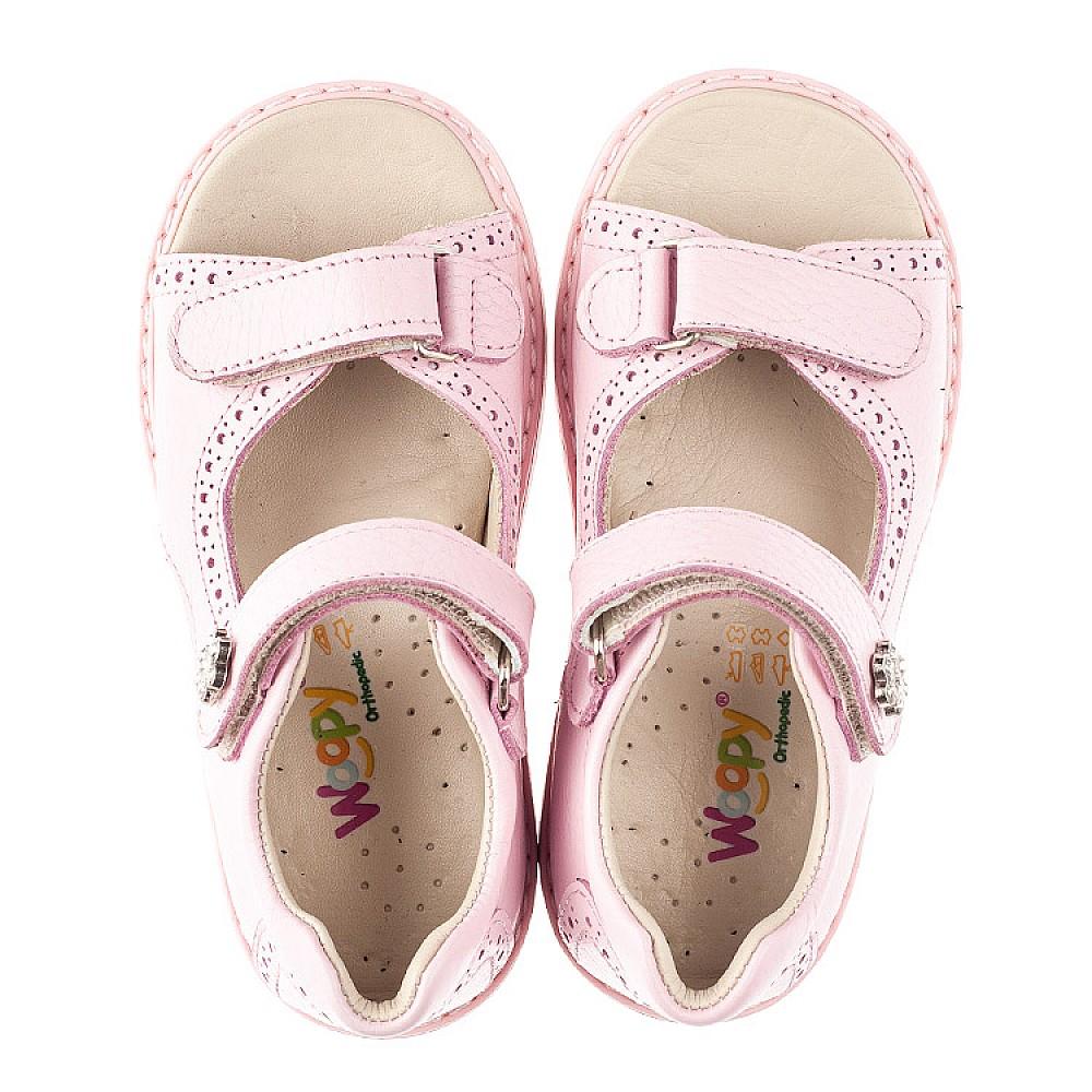 Детские босоножки Woopy Orthopedic розовые для девочек натуральная кожа размер 22-36 (5041) Фото 5