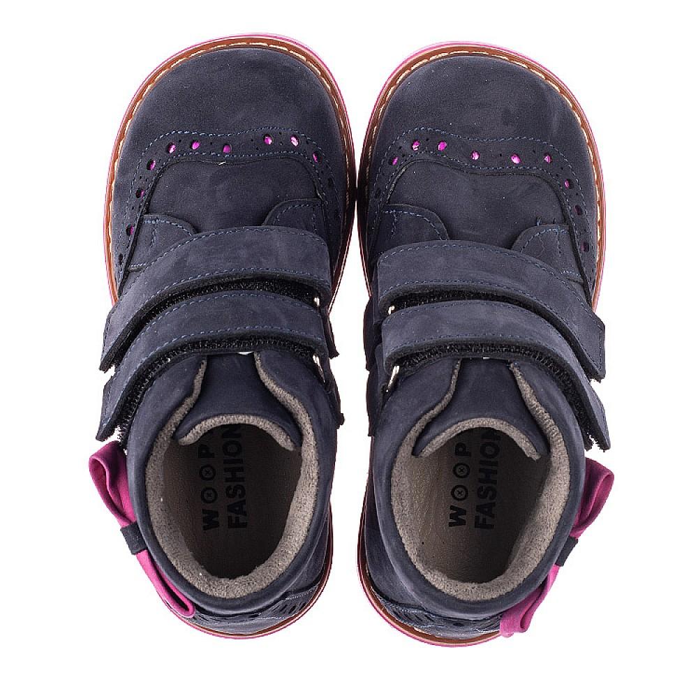 Детские демисезонные ботинки Woopy Orthopedic синие для девочек натуральный нубук размер 18-33 (5044) Фото 4