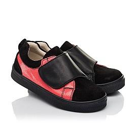 Детские кеди Woopy Fashion черные для девочек натуральная кожа и замша размер 27-36 (5056) Фото 1