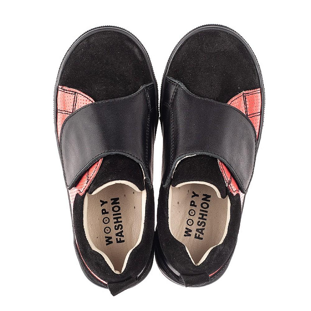 Детские кеды Woopy Fashion черные для девочек натуральная кожа и замша размер 27-36 (5056) Фото 5