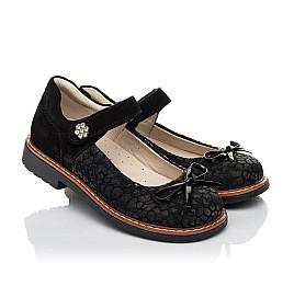 Детские туфли Woopy Orthopedic черные для девочек натуральный нубук и замша размер 29-35 (5060) Фото 1