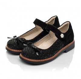 Детские туфли Woopy Orthopedic черные для девочек натуральный нубук и замша размер 29-35 (5060) Фото 3