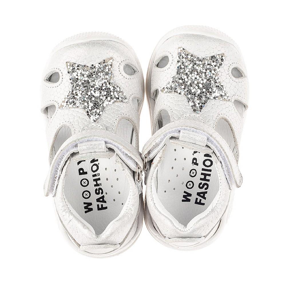 Детские закрытые босоножки Woopy Fashion серебряные для девочек натуральный нубук размер 18-21 (5065) Фото 5