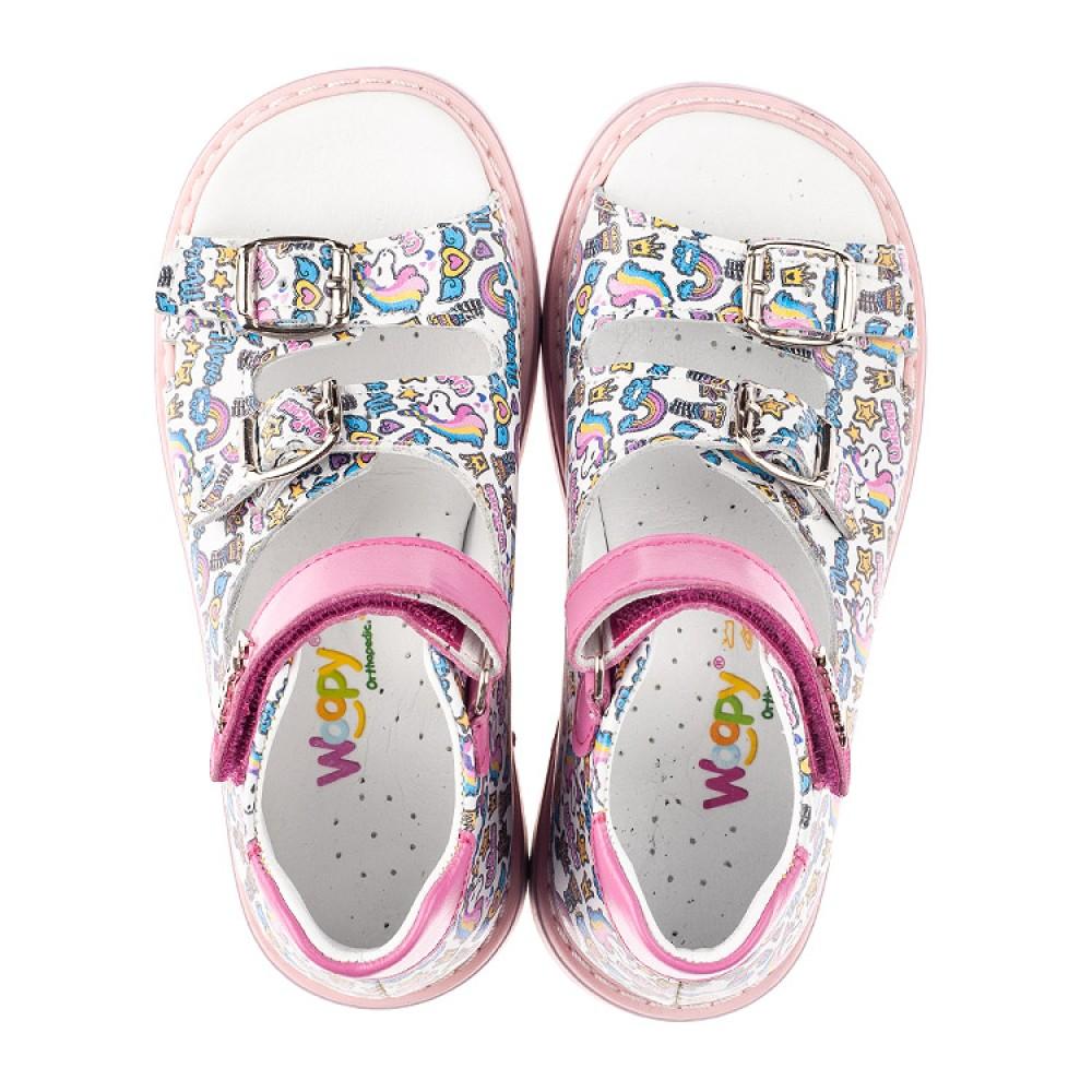 Детские босоножки Woopy Orthopedic разноцветные для девочек натуральная кожа размер 18-30 (5067) Фото 5