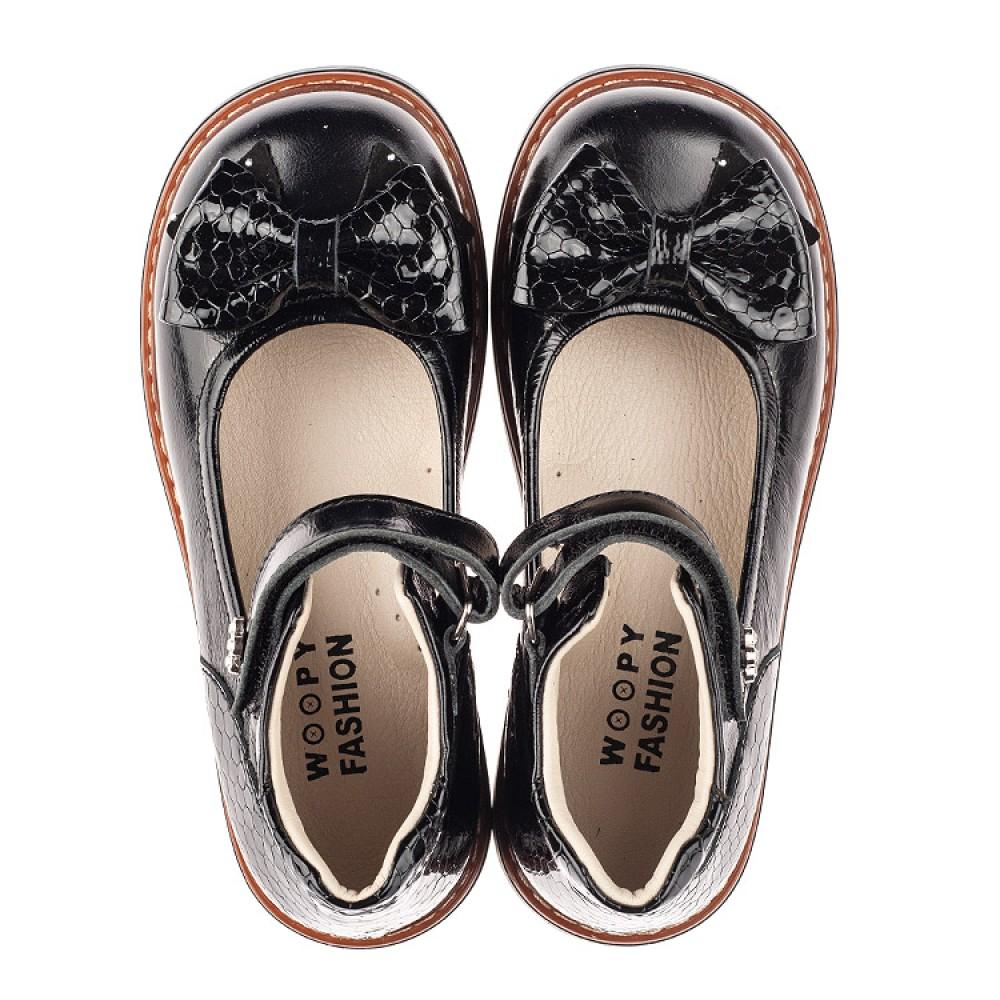 Детские туфли Woopy Orthopedic черные для девочек натуральная лаковая кожа размер 29-35 (5071) Фото 5