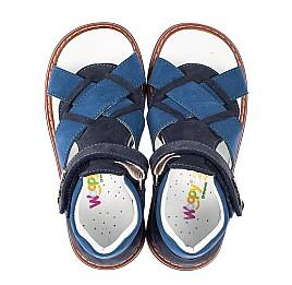 Детские босоножки Woopy Orthopedic синие для мальчиков натуральный нубук размер 23-27 (5073) Фото 4