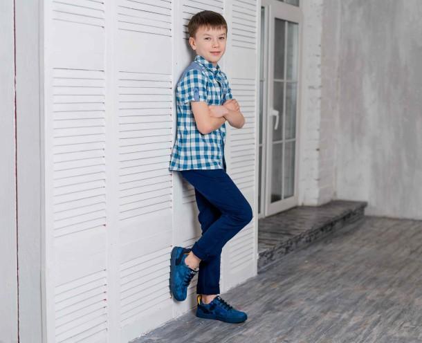 Мальчик обут в детские кеды Woopy Fashion синие (5078) Фото 1