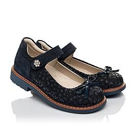 Детские туфлі Woopy Orthopedic синие для девочек натуральный нубук и замша размер 29-35 (5080) Фото 1