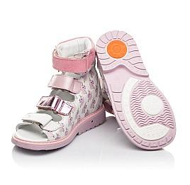 Детские ортопедические босоножки (с высоким берцем) Woopy Orthopedic белые, розовые для девочек натуральная кожа размер 22-33 (5081) Фото 2