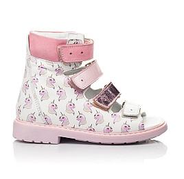 Детские ортопедические босоножки (с высоким берцем) Woopy Orthopedic белые, розовые для девочек натуральная кожа размер 22-33 (5081) Фото 4