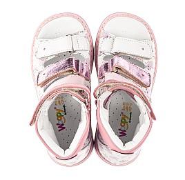 Детские ортопедические босоножки (с высоким берцем) Woopy Orthopedic белые, розовые для девочек натуральная кожа размер 22-33 (5081) Фото 5