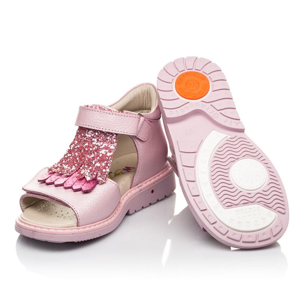 Детские босоножки Woopy Orthopedic розовые для девочек натуральная кожа размер 21-30 (5092) Фото 2