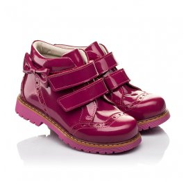 Детские демисезонные ботинки (подкладка кожа) Woopy Fashion розовые для девочек натуральная лаковая кожа размер 25-35 (5099) Фото 1