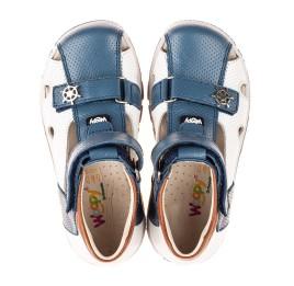 Детские закрытые босоножки Woopy Fashion белые для мальчиков натуральная кожа размер 21-33 (5104) Фото 5