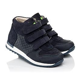 Детские демисезонные ботинки (подкладка кожа) Woopy Fashion синие для мальчиков натуральный нубук размер 21-39 (5108) Фото 1