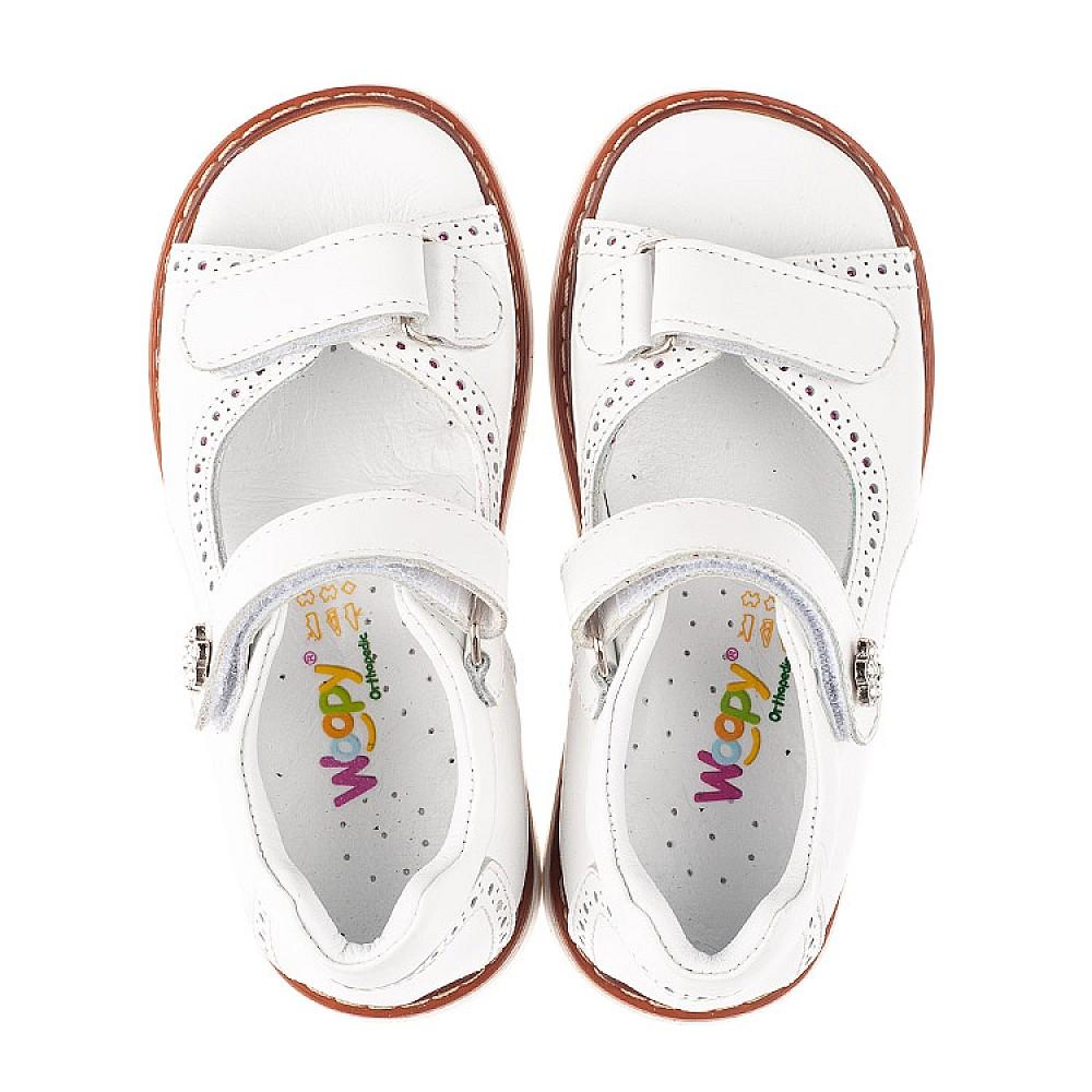 Детские босоножки Woopy Orthopedic белые для девочек натуральная кожа размер 22-36 (5110) Фото 5