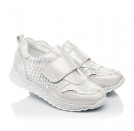 Детские кроссовки Woopy Fashion серебряные для девочек натуральный нубук размер 32-39 (5114) Фото 1