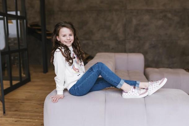 Девочка обута в детские кеды Woopy Fashion розовые (5121) Фото 2