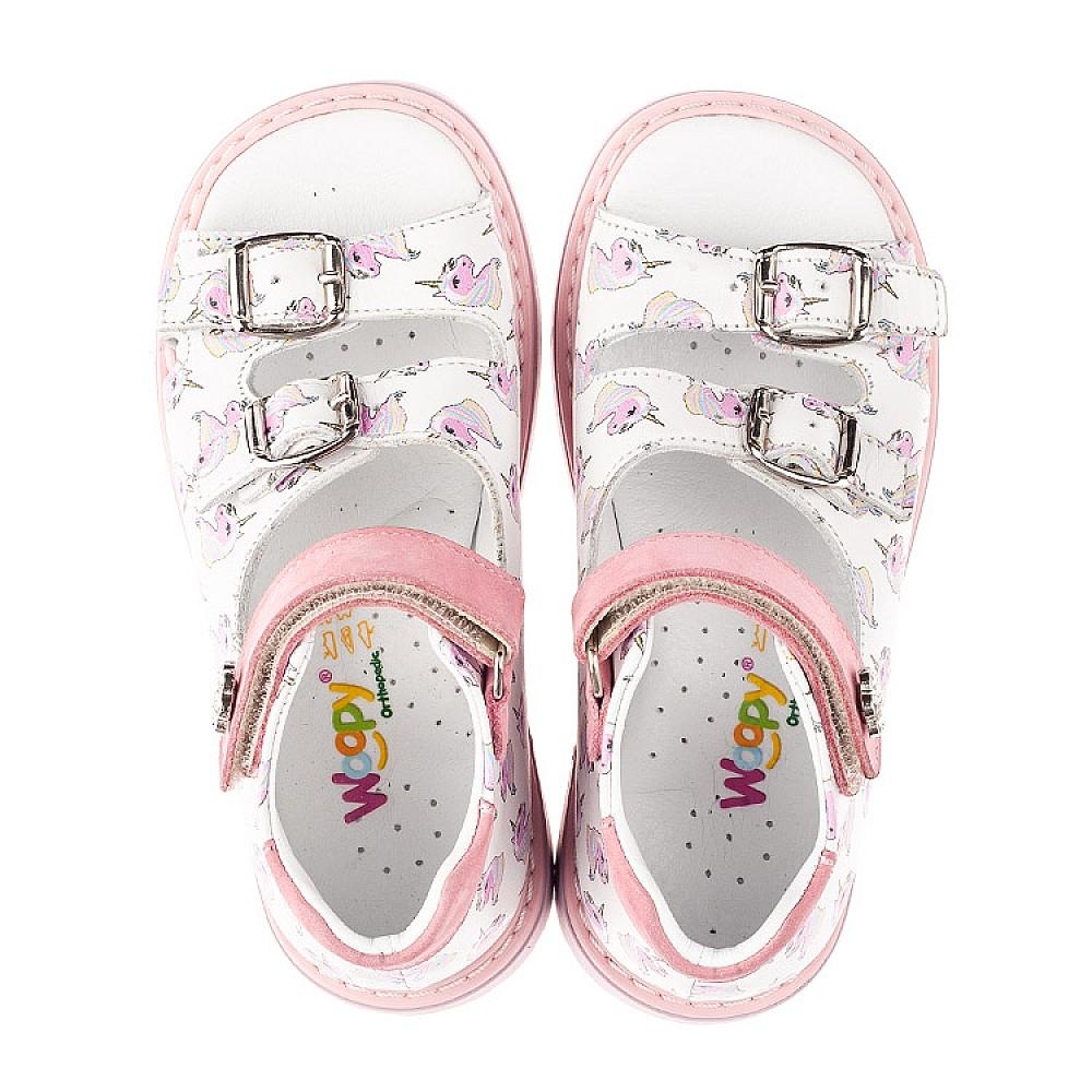 Детские босоножки Woopy Orthopedic розовые для девочек натуральная кожа размер 18-34 (5123) Фото 5