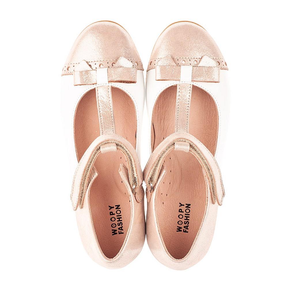 Детские туфли Woopy Fashion пудровые для девочек натуральная кожа и нубук размер 26-37 (5142) Фото 5