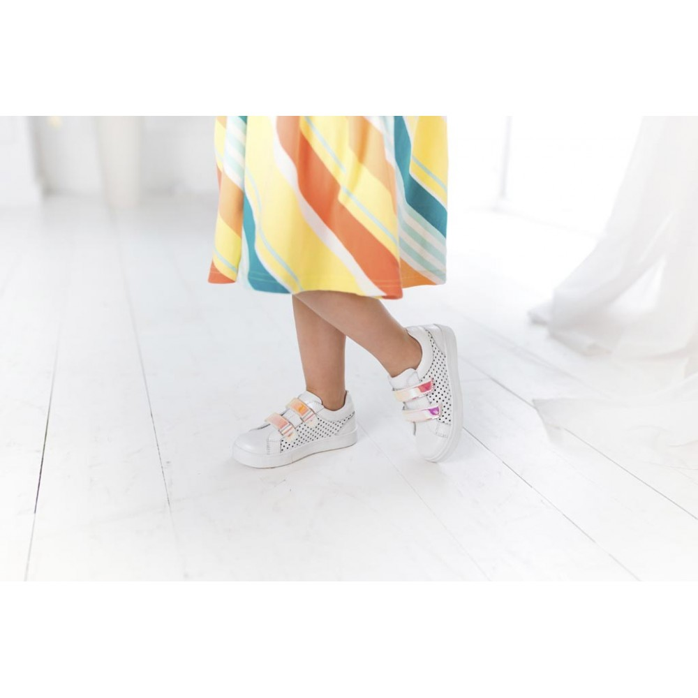 Детские кеды Woopy Fashion белые для девочек натуральная кожа размер 23-37 (5144) Фото 6