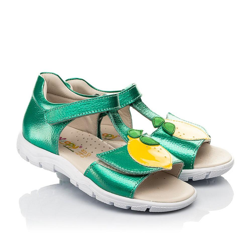 Детские босоножки Woopy Fashion зеленые для девочек натуральная кожа размер 21-30 (5145) Фото 1