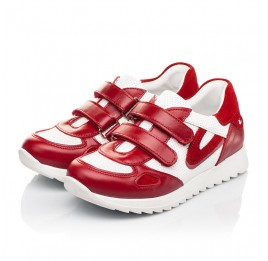 Детские кроссовки Woopy Fashion белые,красные для девочек натуральная кожа и замша размер 19-37 (5152) Фото 3