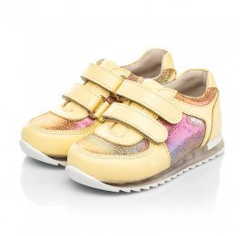 Детские кроссовки Woopy Fashion желтые для девочек натуральная кожа, нубук размер 19-23 (5153) Фото 3