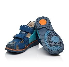 Детские закрытые босоножки Woopy Orthopedic синие для мальчиков  натуральная кожа и нубук размер 19-31 (5156) Фото 2