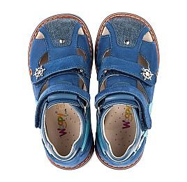 Детские закрытые босоножки Woopy Orthopedic синие для мальчиков  натуральная кожа и нубук размер 19-31 (5156) Фото 5