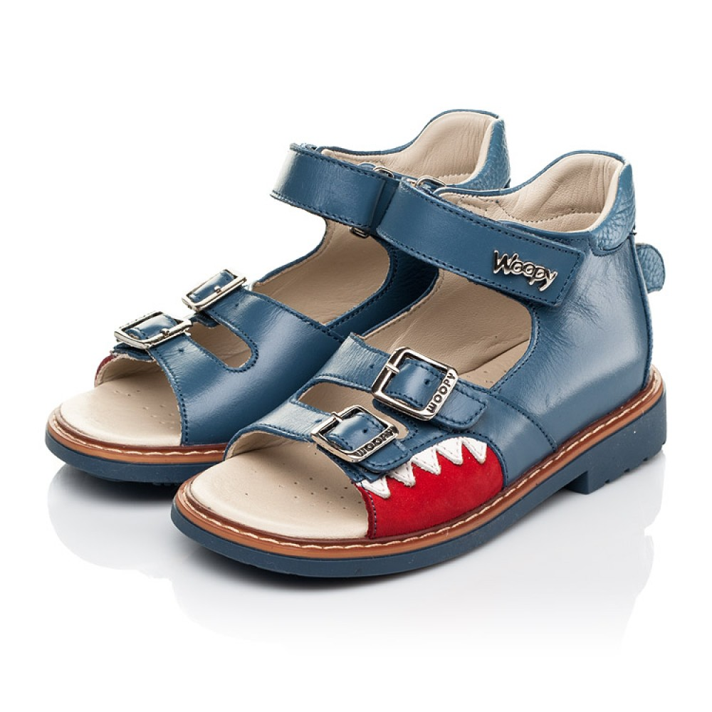 Детские босоножки Woopy Orthopedic синие для мальчиков натуральная кожа размер 19-33 (5160) Фото 3