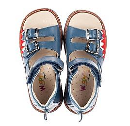 Детские босоножки Woopy Orthopedic синие для мальчиков натуральная кожа размер 19-30 (5160) Фото 5