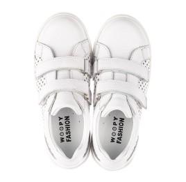 Детские кеды Woopy Fashion белые для девочек натуральная кожа размер 24-35 (5168) Фото 5