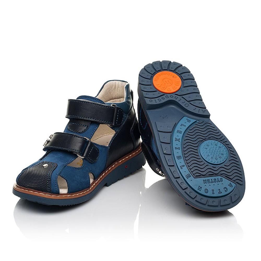 Детские босоножки Woopy Orthopedic синие для мальчиков натуральная кожа, нубук размер 18-33 (5171) Фото 2