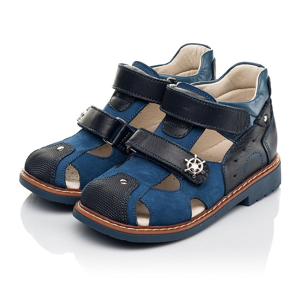 Детские босоножки Woopy Orthopedic синие для мальчиков натуральная кожа, нубук размер 18-33 (5171) Фото 3
