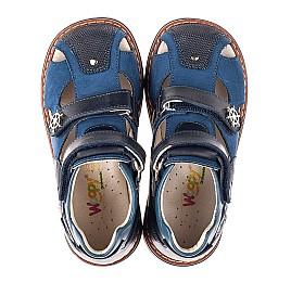 Детские босоножки Woopy Orthopedic синие для мальчиков натуральная кожа, нубук размер 18-28 (5171) Фото 5