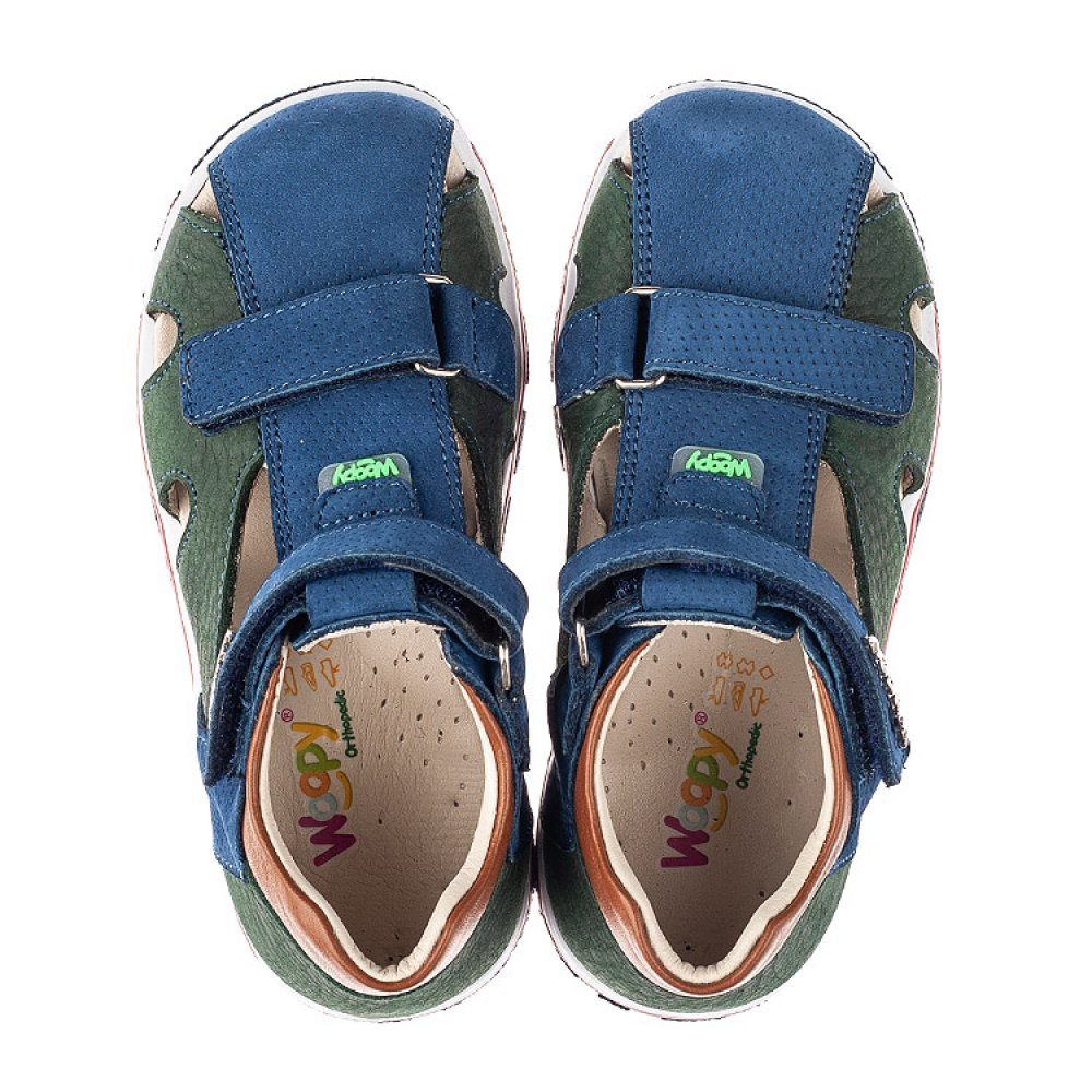 Детские босоножки Woopy Orthopedic разноцветные для мальчиков натуральный нубук размер 21-30 (5180) Фото 5