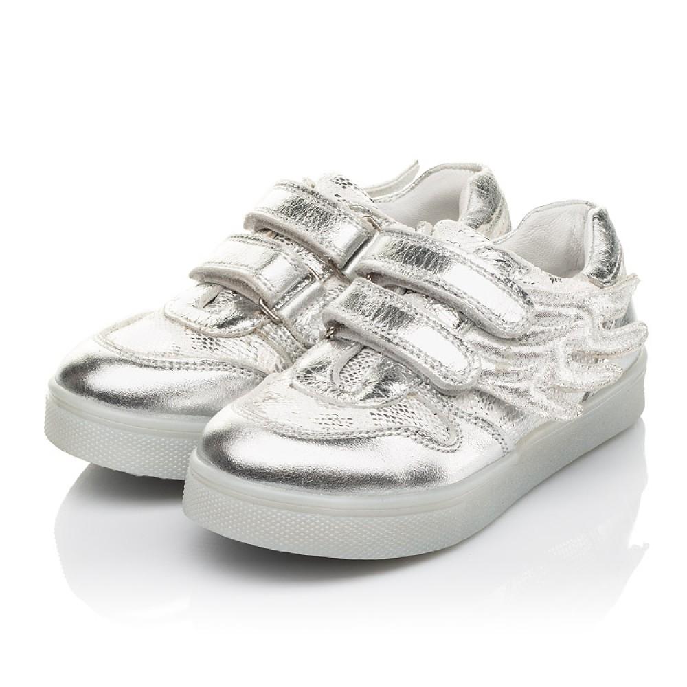 Детские кеды Woopy Orthopedic серебряные для девочек натуральная кожа, искусственный материал размер 22-39 (5190) Фото 3