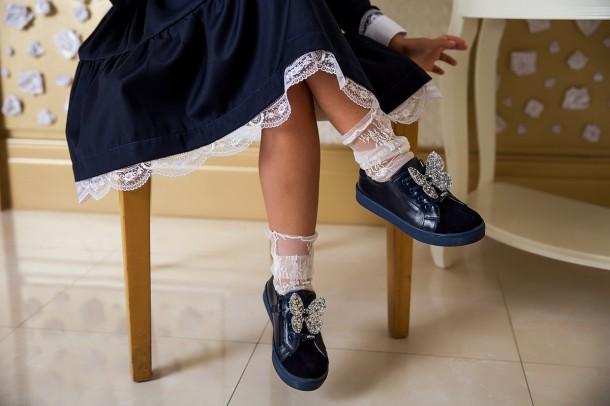 Девочка обута в детские кеды Woopy Fashion синие (5194) Фото 1
