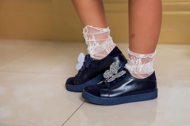 Девочка обута в детские кеды Woopy Fashion синие (5194) Фото 2
