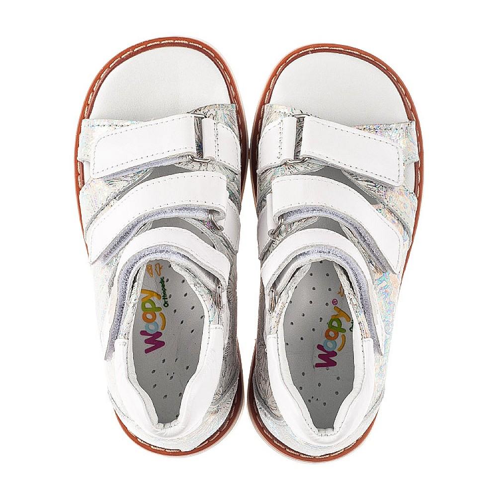 Детские босоножки Woopy Orthopedic серебряные для девочек натуральная кожа размер 19-30 (5205) Фото 5