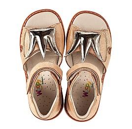 Детские босоножки Woopy Orthopedic золотые для девочек натуральный нубук размер 19-33 (5210) Фото 5