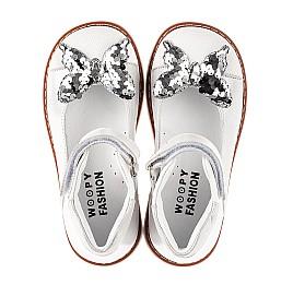 Детские туфли Woopy Orthopedic белые для девочек натуральная кожа и нубук размер 26-34 (5212) Фото 5