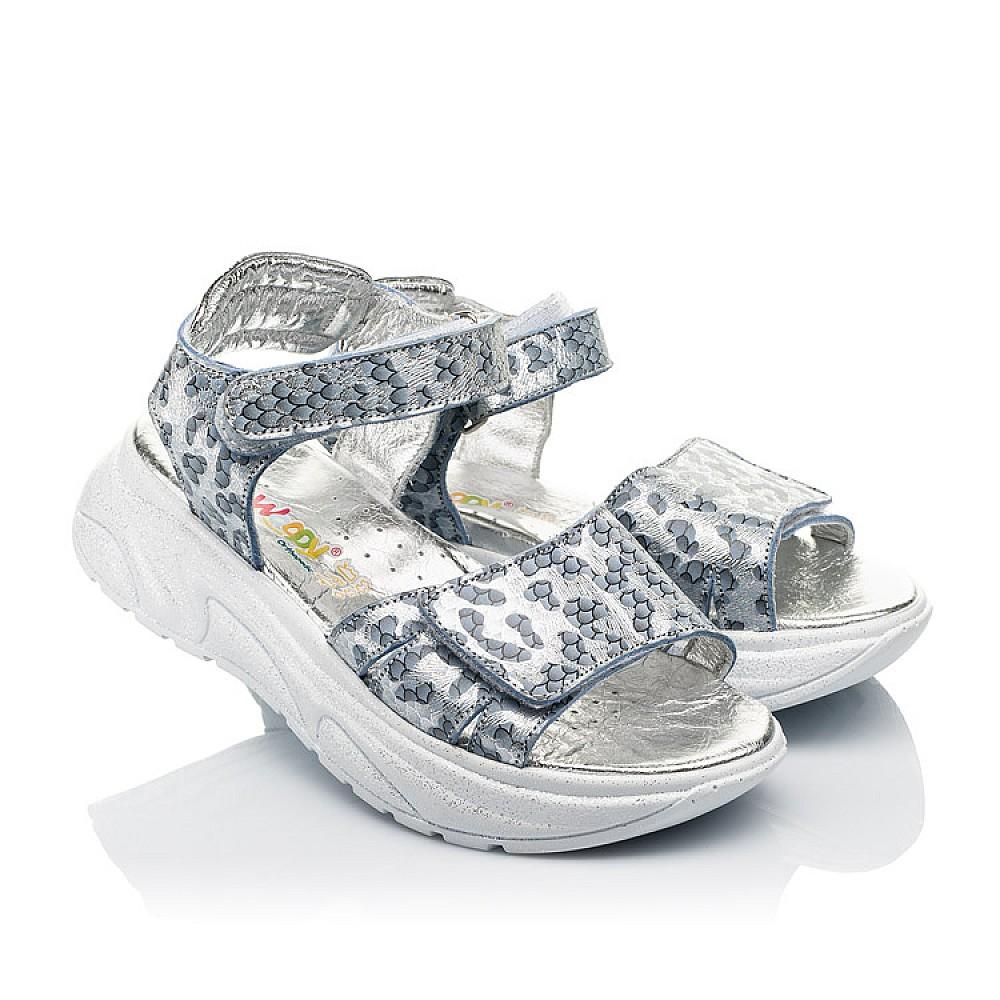 Детские босоножки Woopy Fashion серебряные для девочек натуральный нубук размер 28-40 (5213) Фото 1