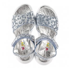 Детские босоножки Woopy Fashion серебряные для девочек натуральный нубук размер 31-40 (5213) Фото 5