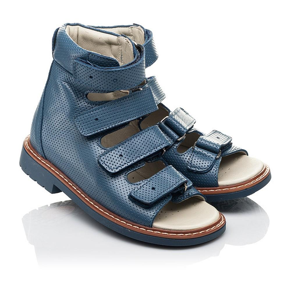 Детские ортопедические босоножки (с высоким берцем) Woopy Orthopedic синие для мальчиков натуральная кожа размер 20-33 (5221) Фото 1